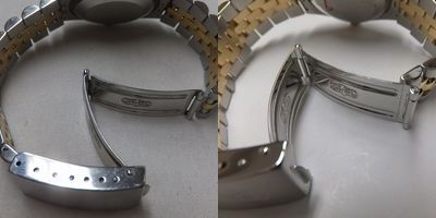 左:新品仕上げ前→右:新品仕上げ後のデイトジャスト(68273)画像