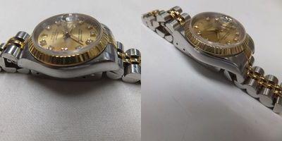左:新品仕上げ前→右:新品仕上げ後のデイトジャスト(69173)画像