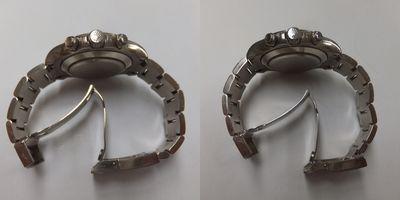 ロレックス メンズ腕時計デイトナ メテオライト(116509)のベルト歪み調整前→歪み調整後